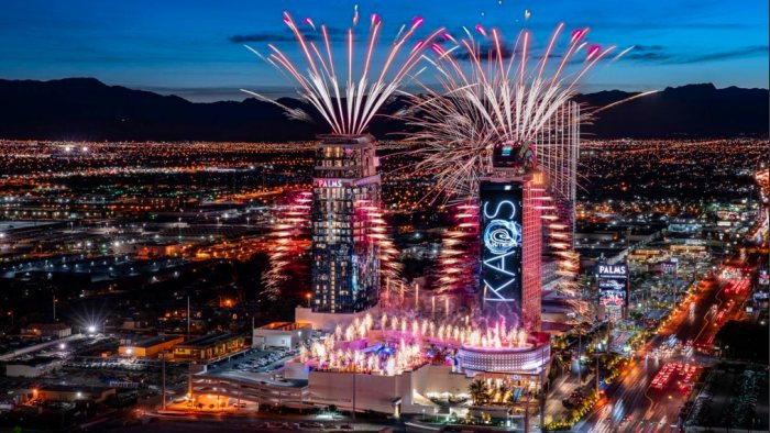 Kaboom! A spectacular fireworks celebrated the grand opening of the Palms' new nightclub, KAOS. Photo: Clint Jenkins