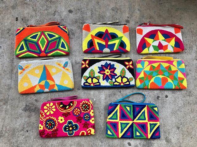 N E W clutches. So many vibrant colors, I am OBSESSED! • • #wayuubags #wayuu #supportwayuuwomen #wayuuwomen #colombia #shoplocal #buylocal