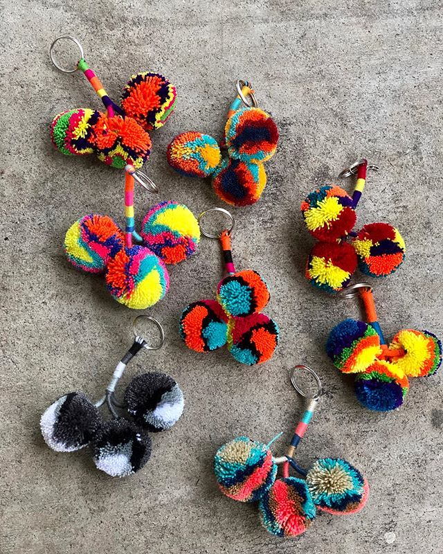Just in from Colombia, 8 Pom Pom key chains. These are handmade by the Wayuu women of the Indigenous Tribe. Knowing I am supporting a culture I feel so drawn to makes me light up. I hope you all love these, they're super cute and fun. DM me if you're interested. • • #wayuubags #wayuu #supportwayuuwomen #wayuuwomen #colombia #shoplocal #buylocal