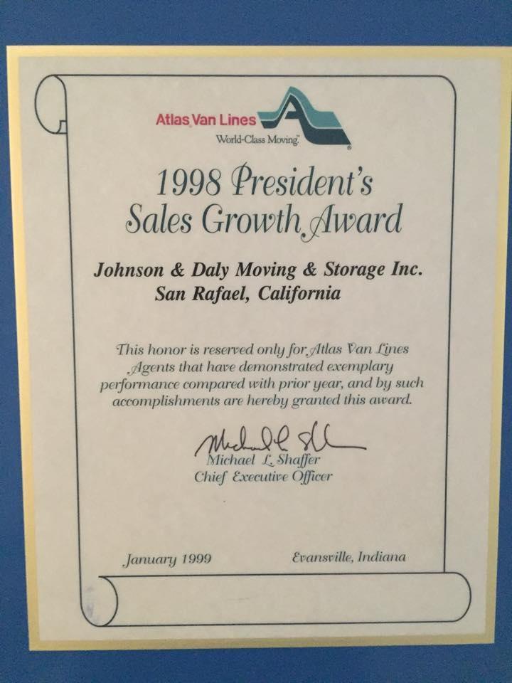 1998 atlas presidents sales growth award