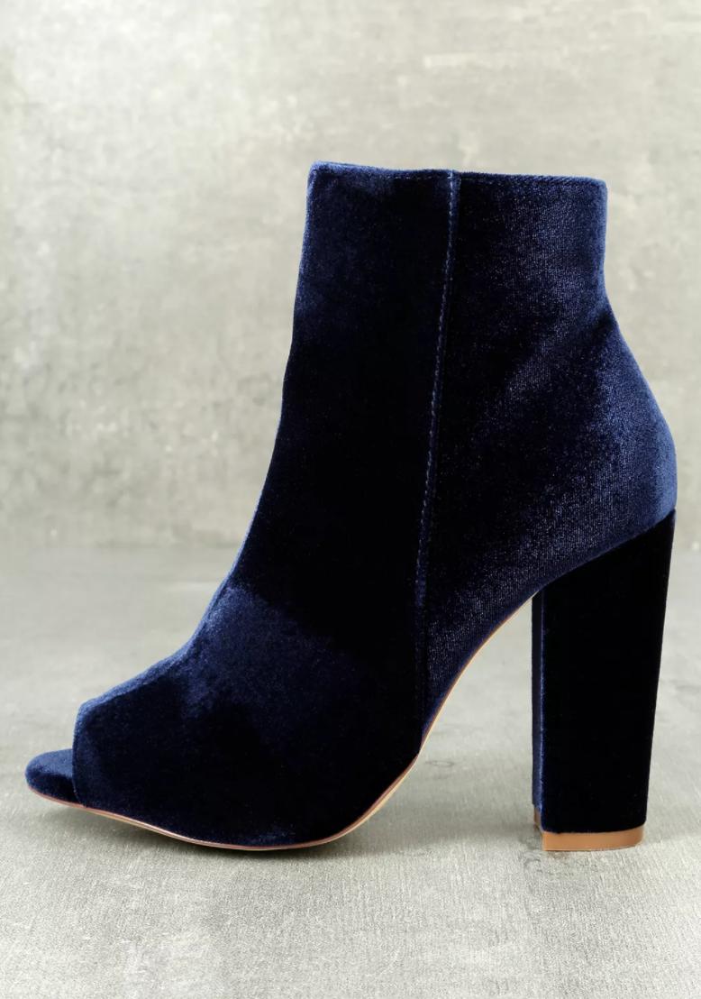 Olivia Jaymes - Millie Blue Velvet Peep-Toe Ankle Booties.