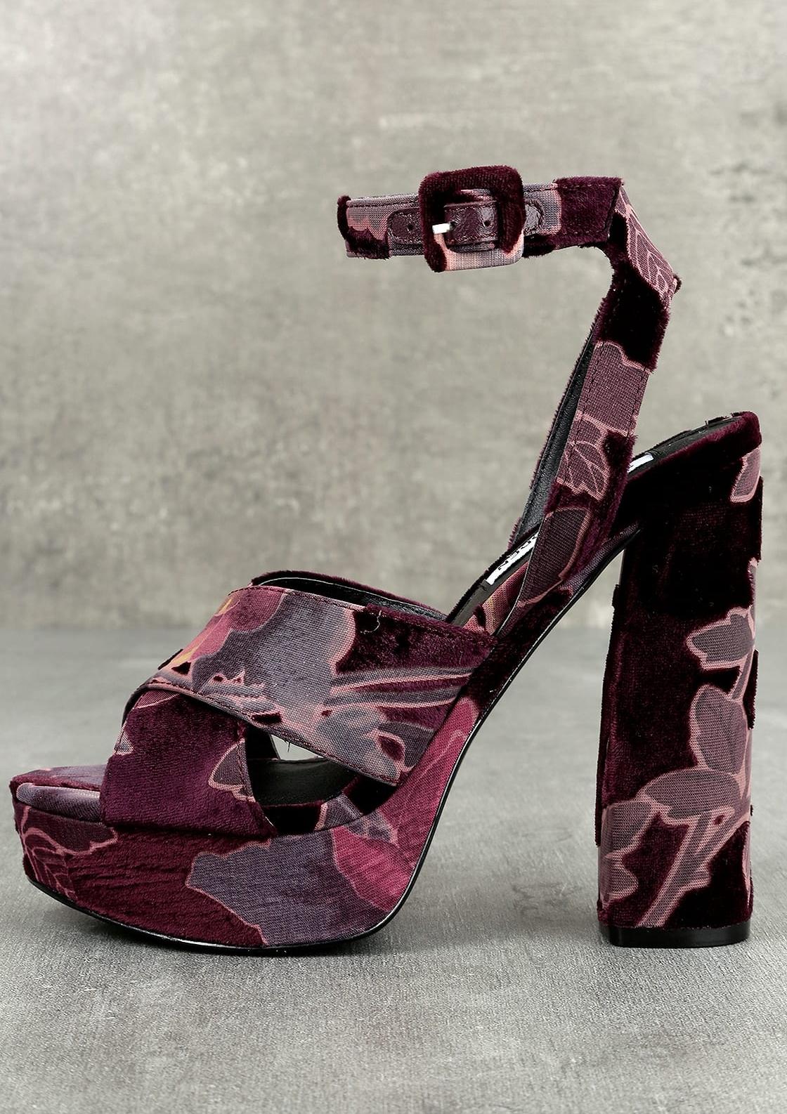 Steve Madden - Jodi Burgundy Velvet Platform Ankle Strap Heels.