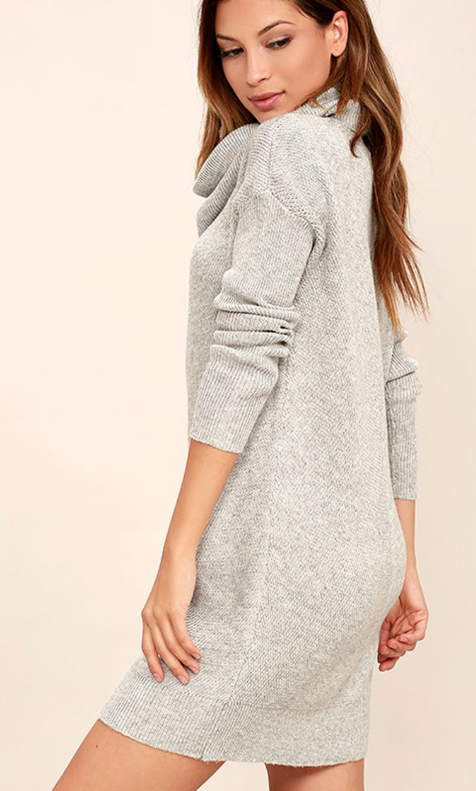 Lulus - Tea Reader Light Grey Sweater Dress.