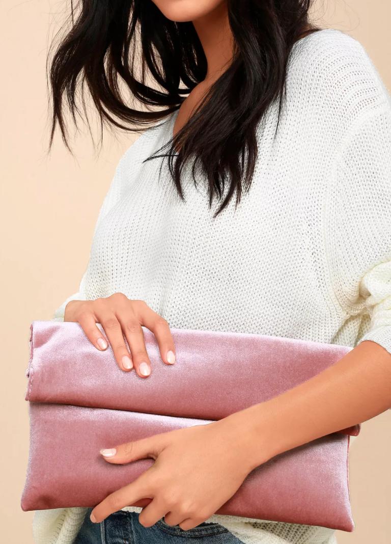 Lulus - Wild Nights Blush Pink Velvet Foldover Clutch.