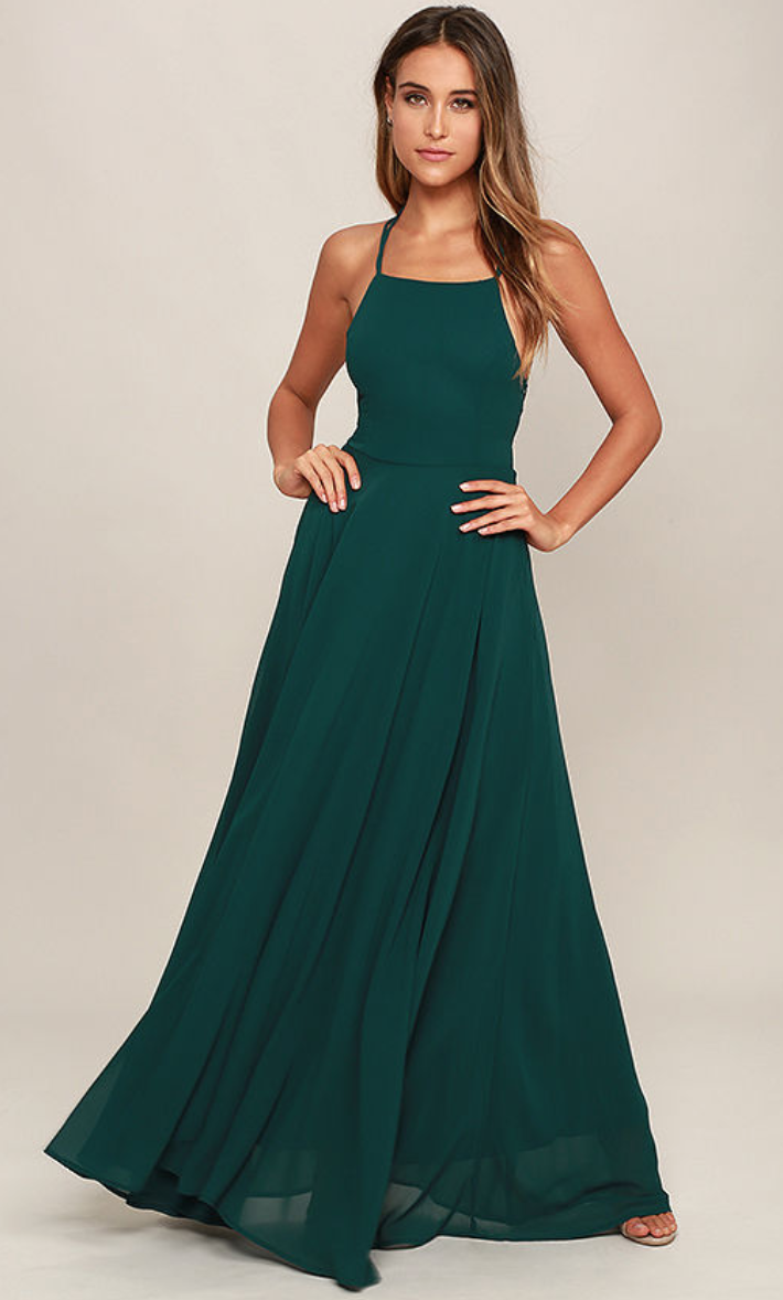 Lulus - Strappy to be Here Forest Green Maxi Dress .