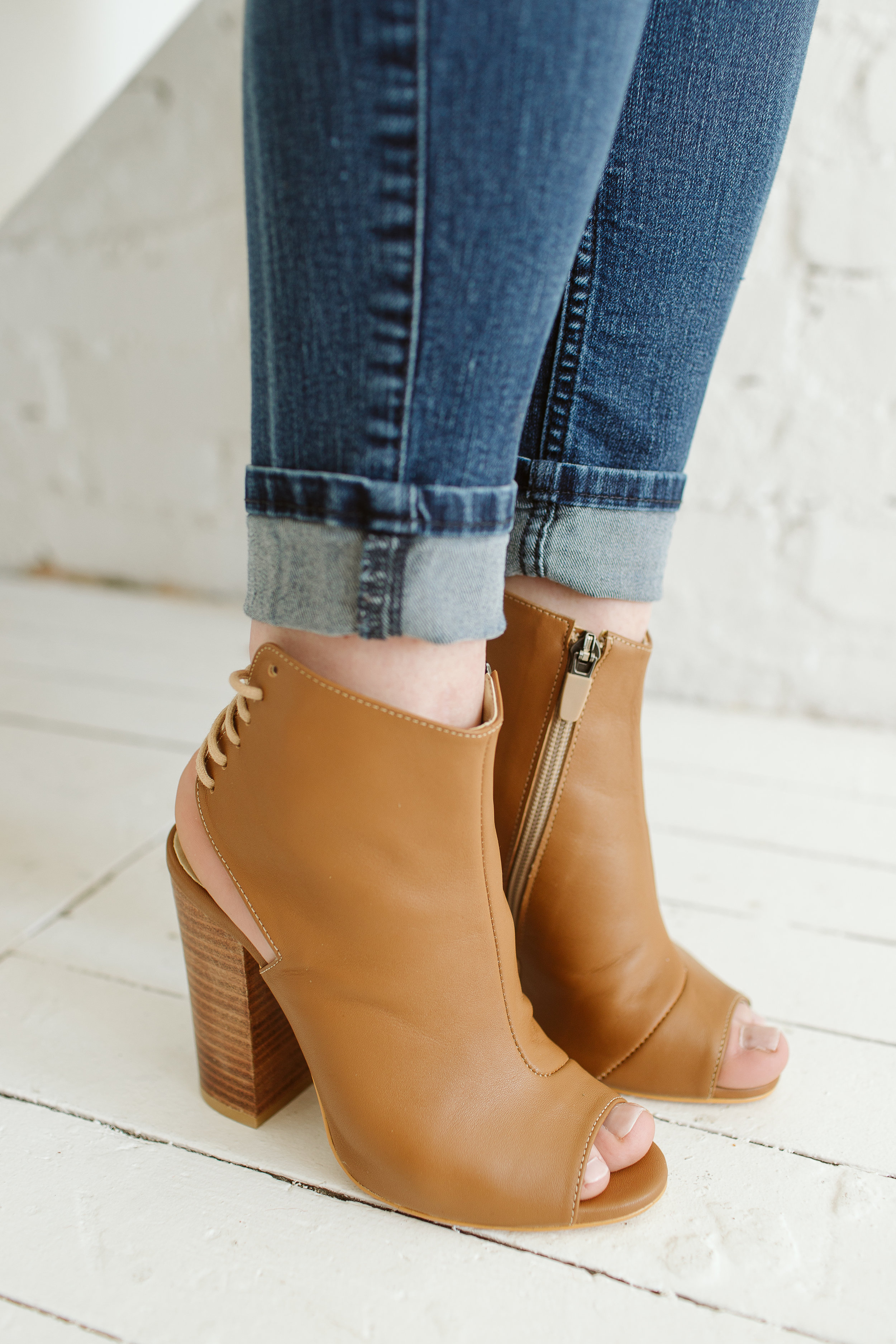 Open Toe Booties, Eshne Petite.  $175. Available at Amazon.