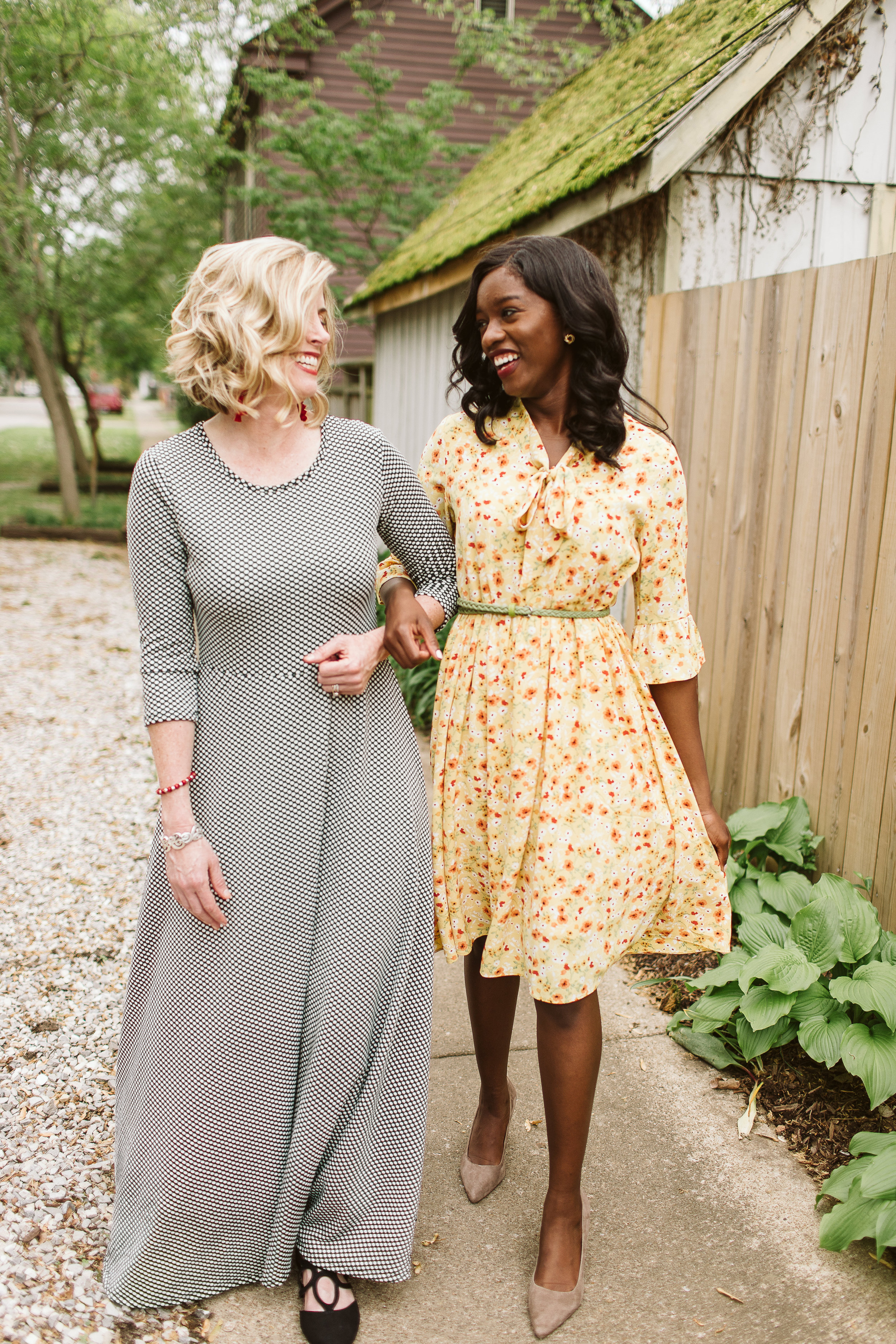 Sarah (L) wears a  sold-out Maxi Dress,  Cherelle (R) wears the  Mustard Babydoll Dress . Available at Simple Extravagance for $35.