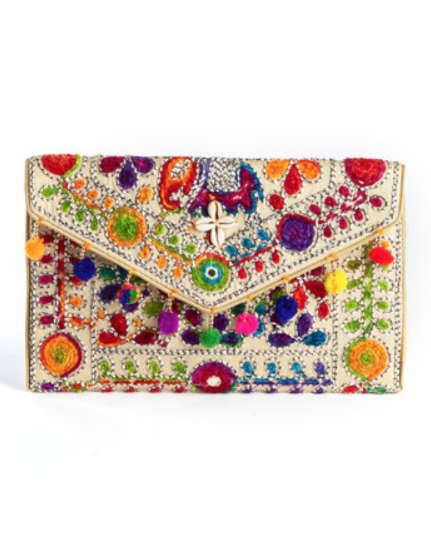 Embroidered Fold Over Clutch