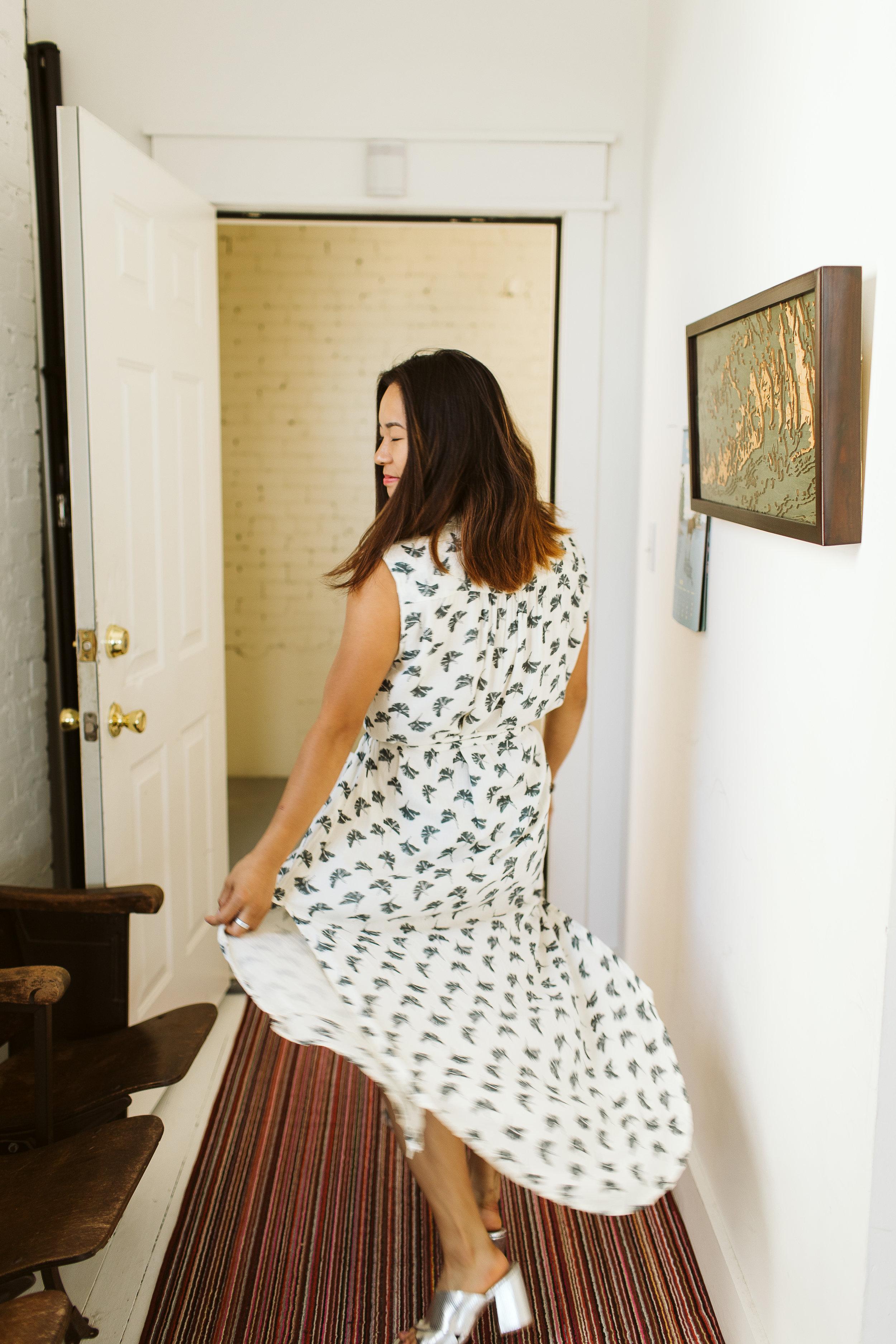 Gingko Leaf Shirtdress, Symbology Clothing.