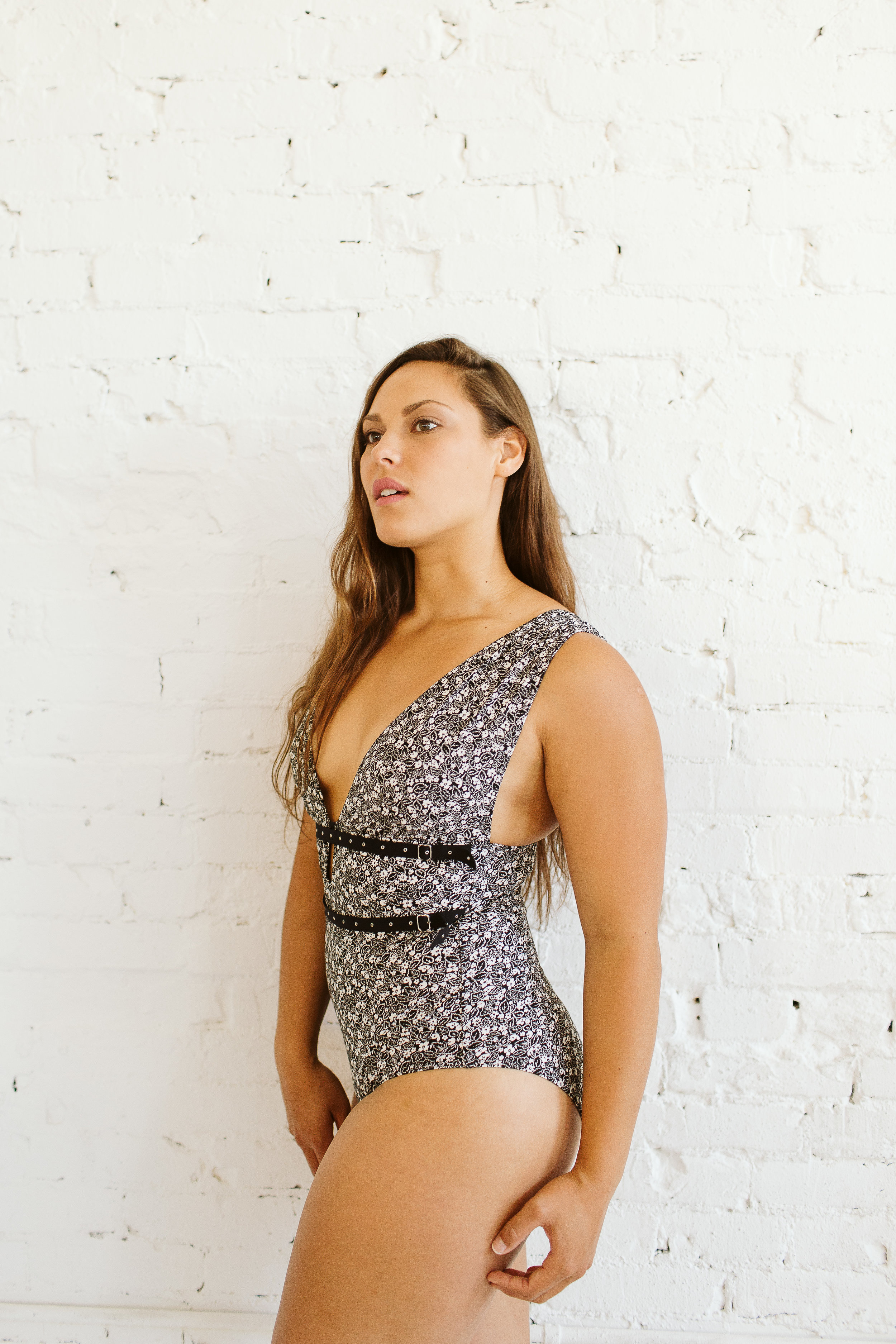 Microfloral Plunging V Neck One Piece, Duchess of Dupont