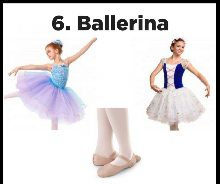Graceful girl - This one is easy! Find your old recital costume, put your hair in a bun and don't forget your tights and ballet shoes to show off your inner ballerina princess!