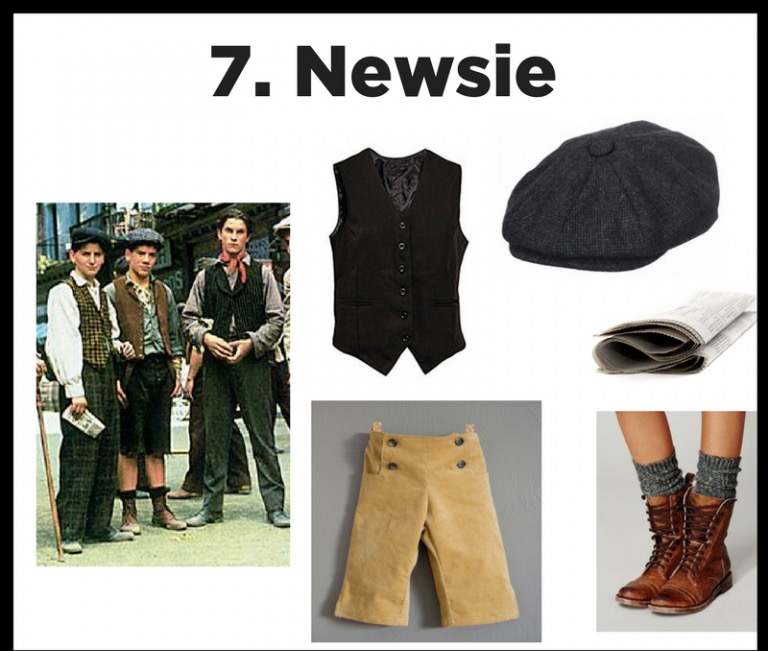 Extra Extra - Become a Broadway brat and a part of history.  We have Newsie costumes for all ages and sizes! Vests, knickers, pants, hats, and don't forget your messenger bag, hat, and a 'pape.'