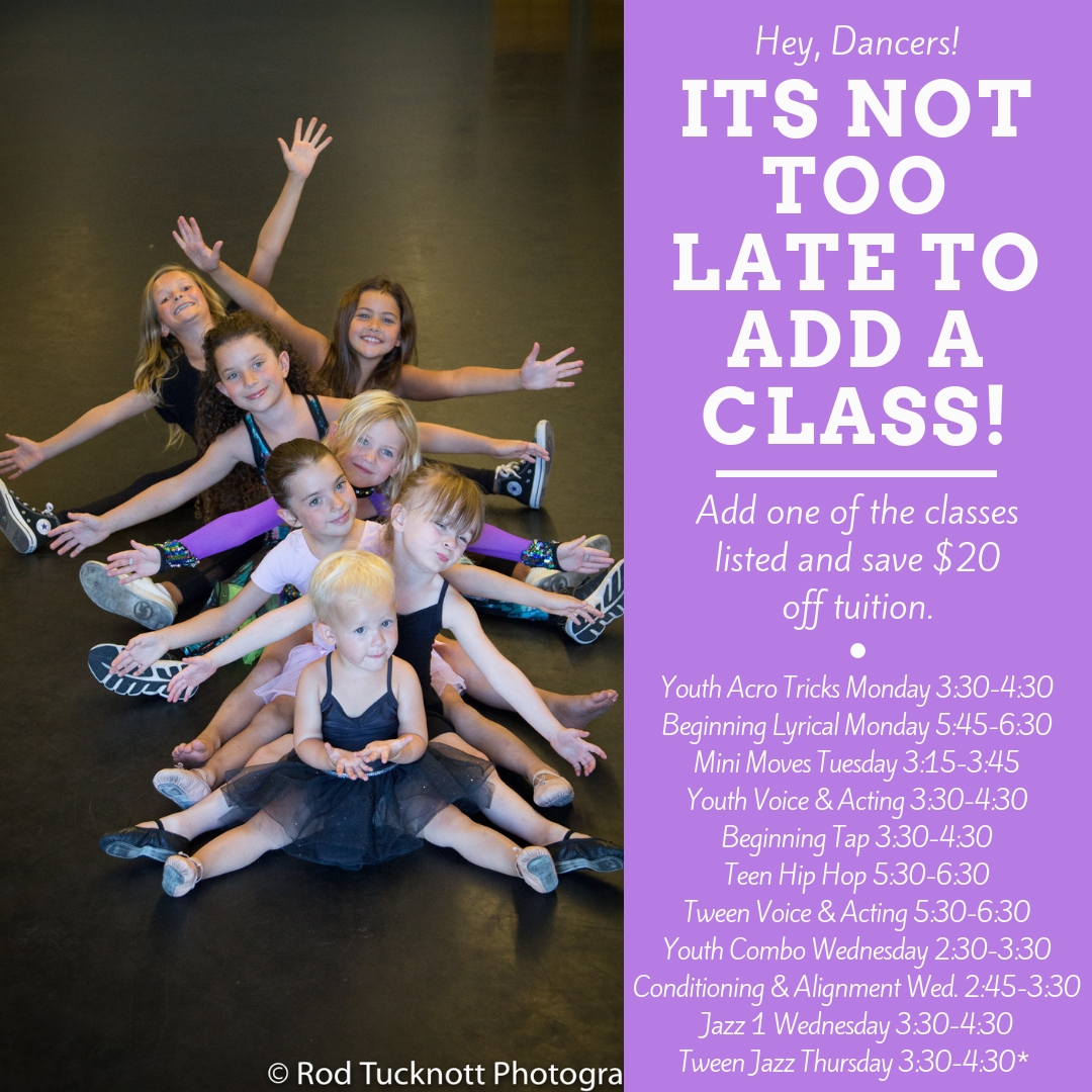 Email  Rita@sbdancearts.com  to get coupon to add a class and save! Ends October 13.