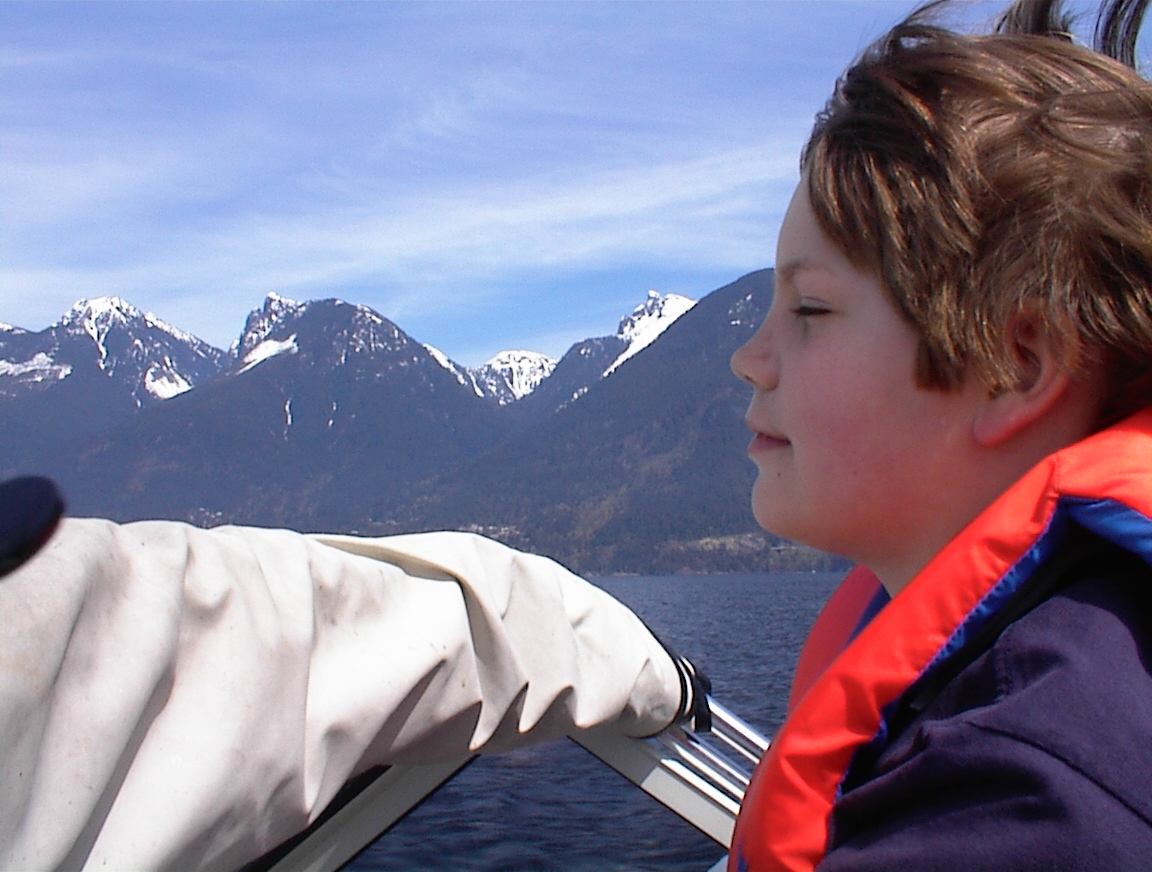 Driving the boat in Howe Sound when I was 10 (1998)