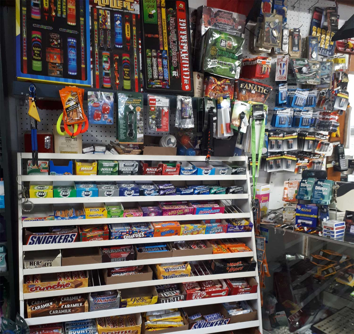 Fireworks, batteries, playing cards, lighters, chap stick.