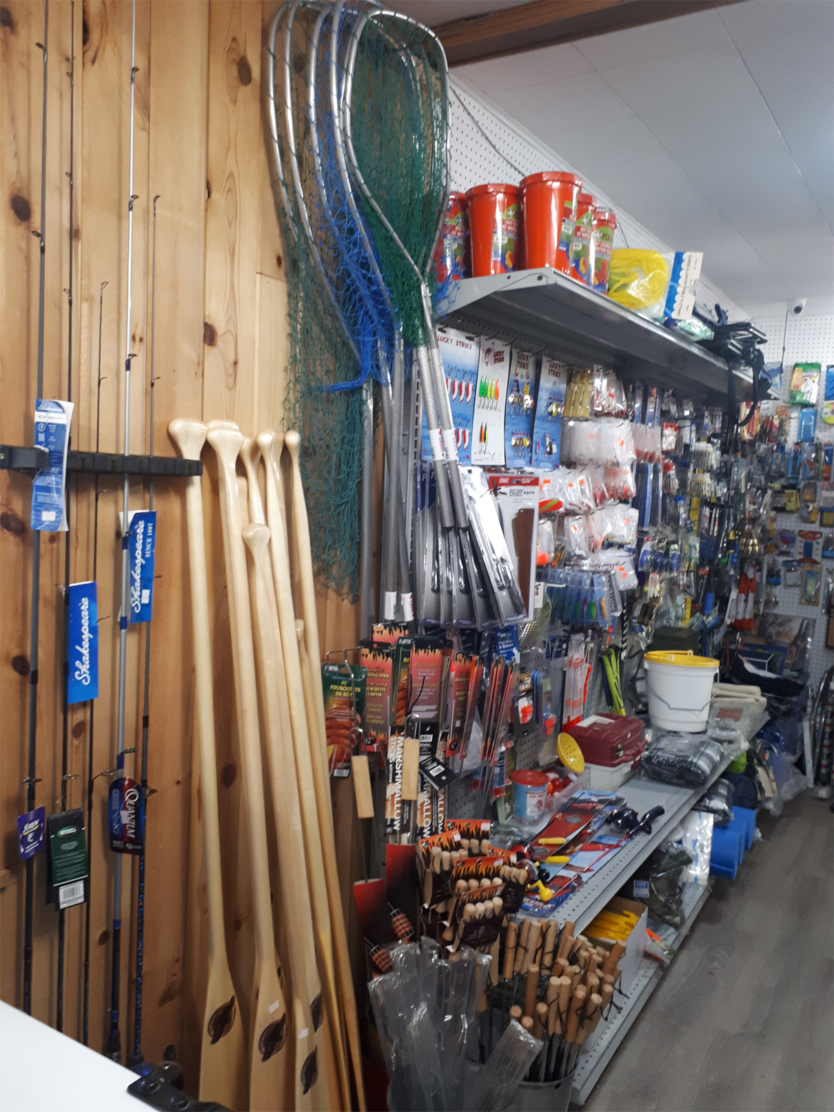 Paddles, nets, rods, lures and leaders, knives and safety gear.