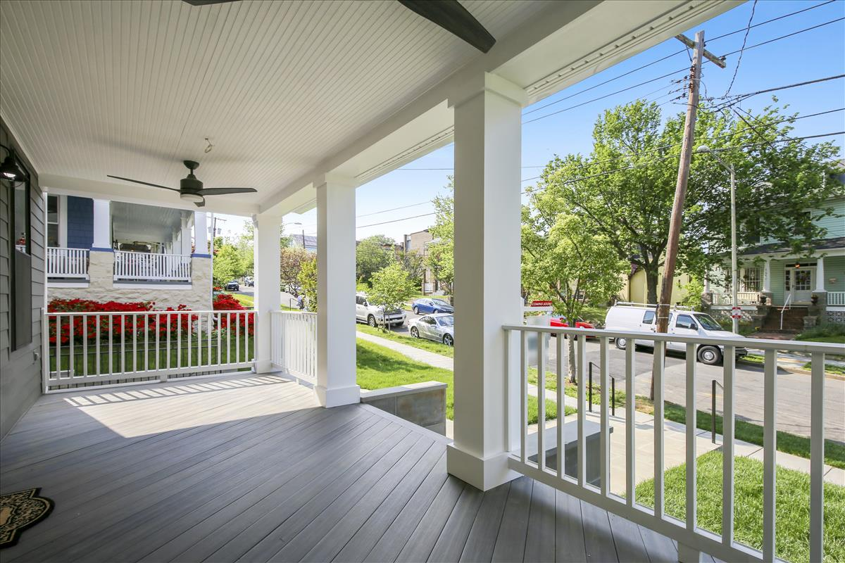 Front porch with ceiling fans