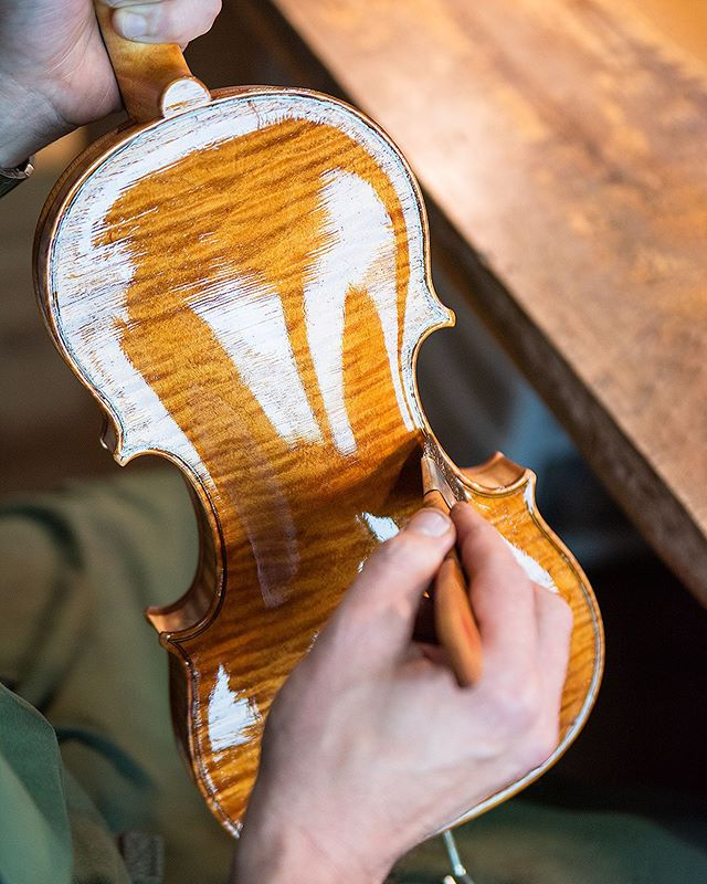 First coat 🔥 • • • • • #violin #violinmaking #woodwork #whatsonyourbench #classicalmusic