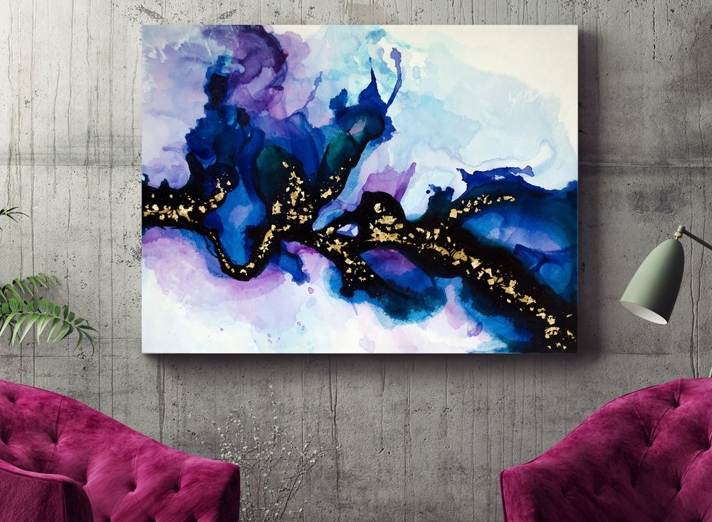 """Michelle. Sold. 24x36"""". India ink and gold foil on canvas."""