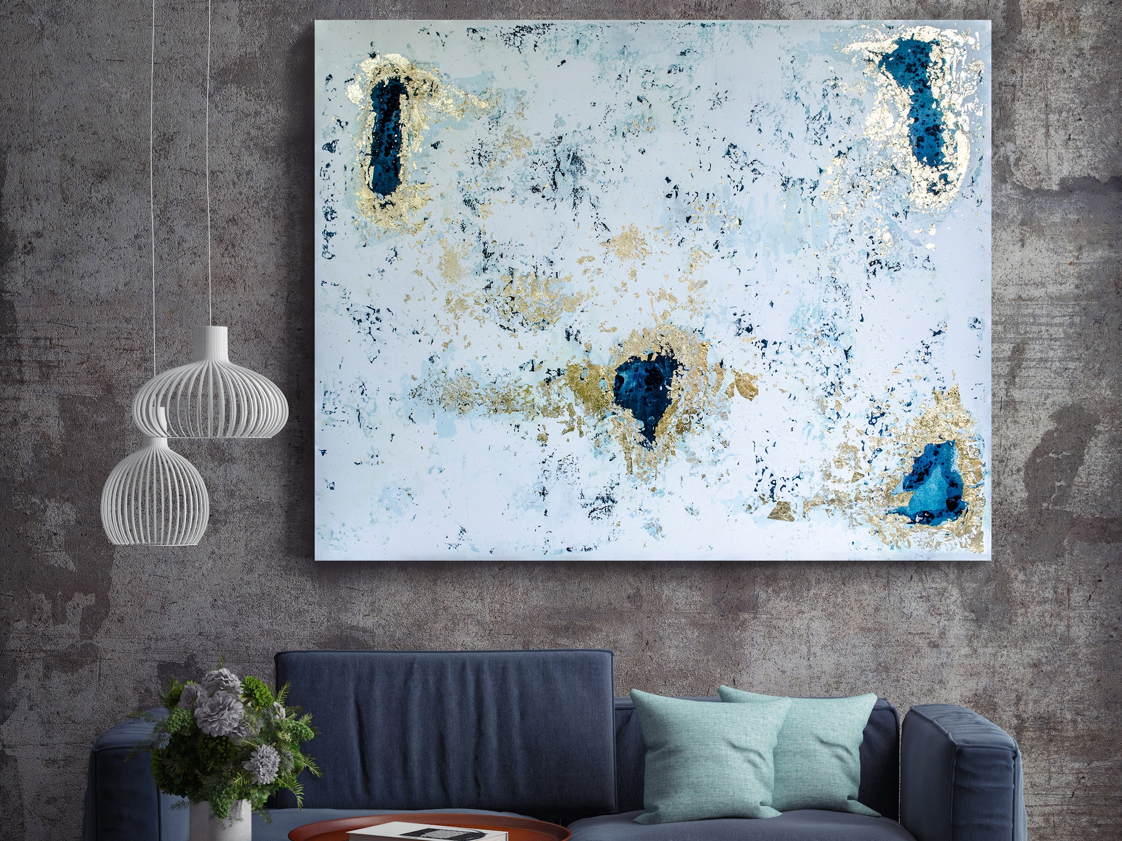 """Frost. Sold. 60x48"""". Acrylic and gold foil on canvas."""