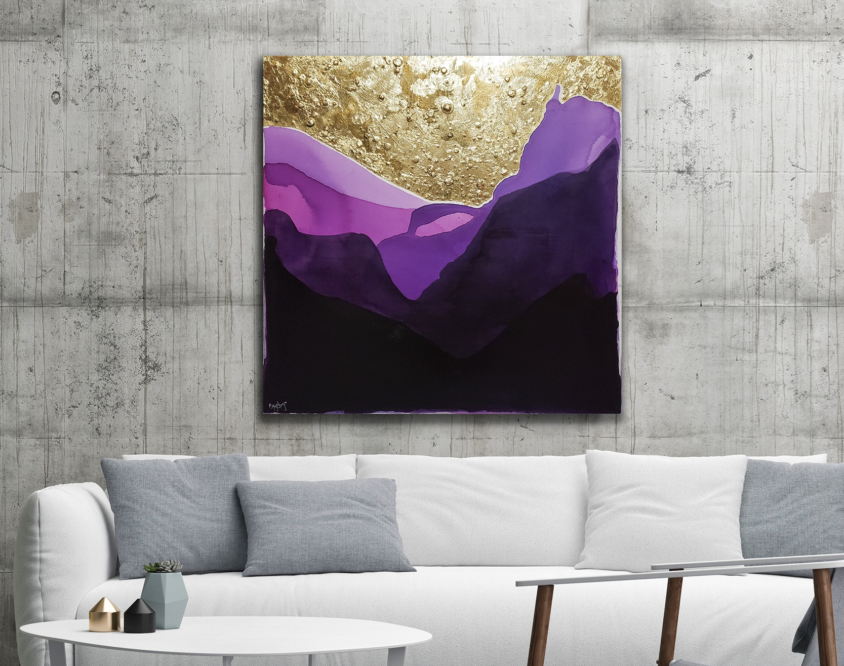 """Under The Stars. $450. 36x36"""". India ink and gold foil on canvas."""