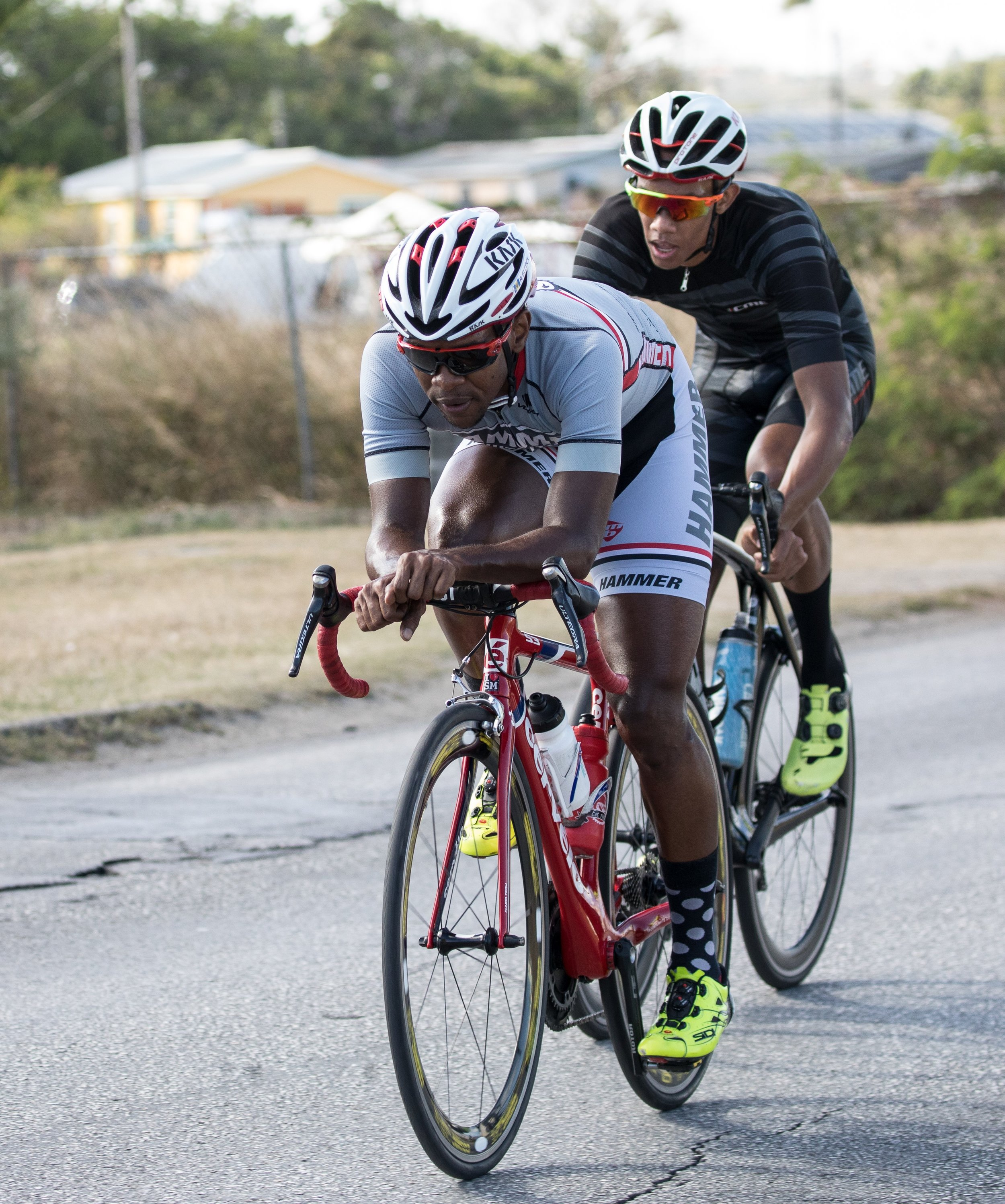 Russell Elcock and Dominic Howard, respective first and second place winners of the Seniors race category. Photo credit: Barbados Cycling Union
