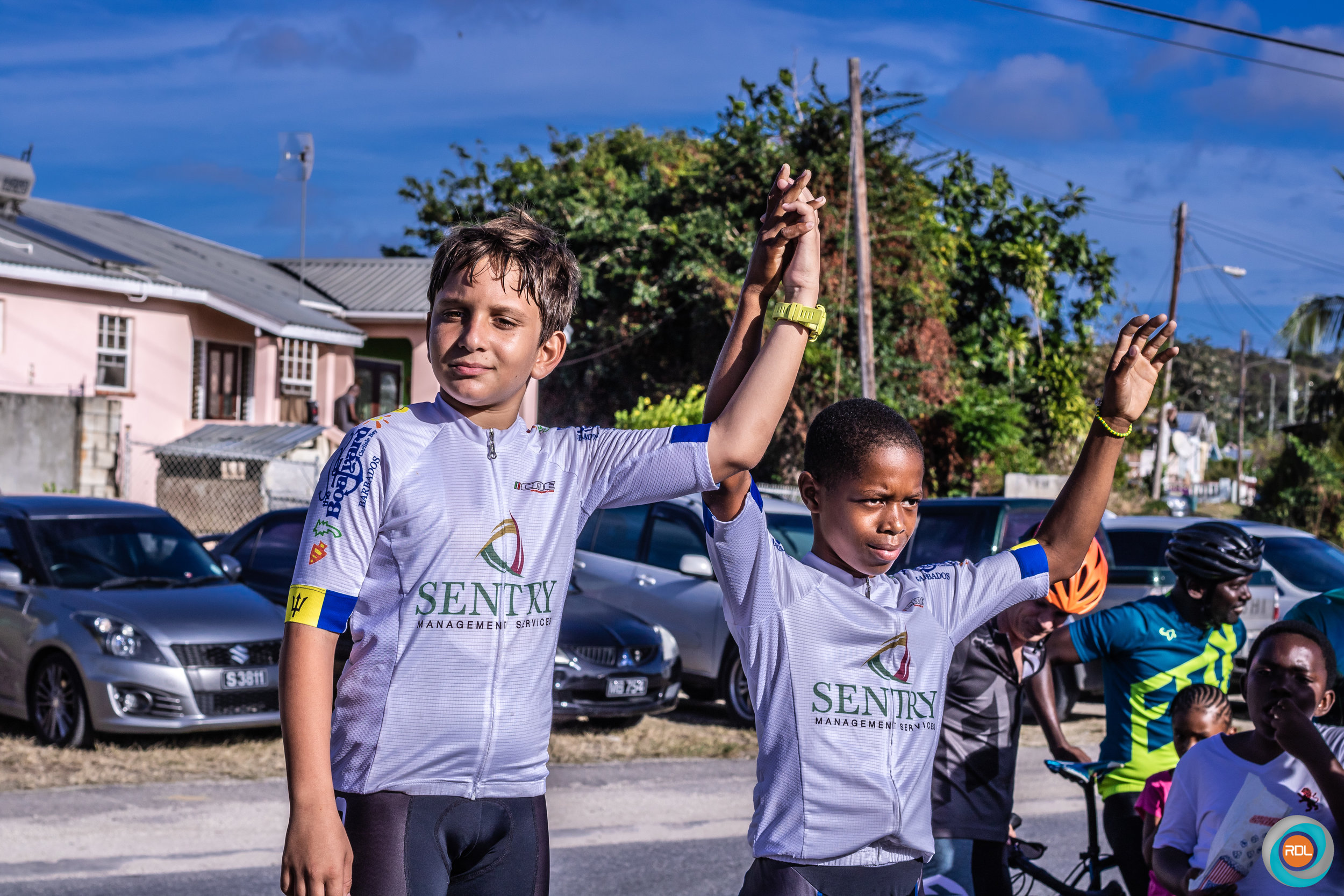 Jonah Kelly (left) and Kevin Webster (right) of the Tiny Mites category celebrates their first and second place win, respectively.