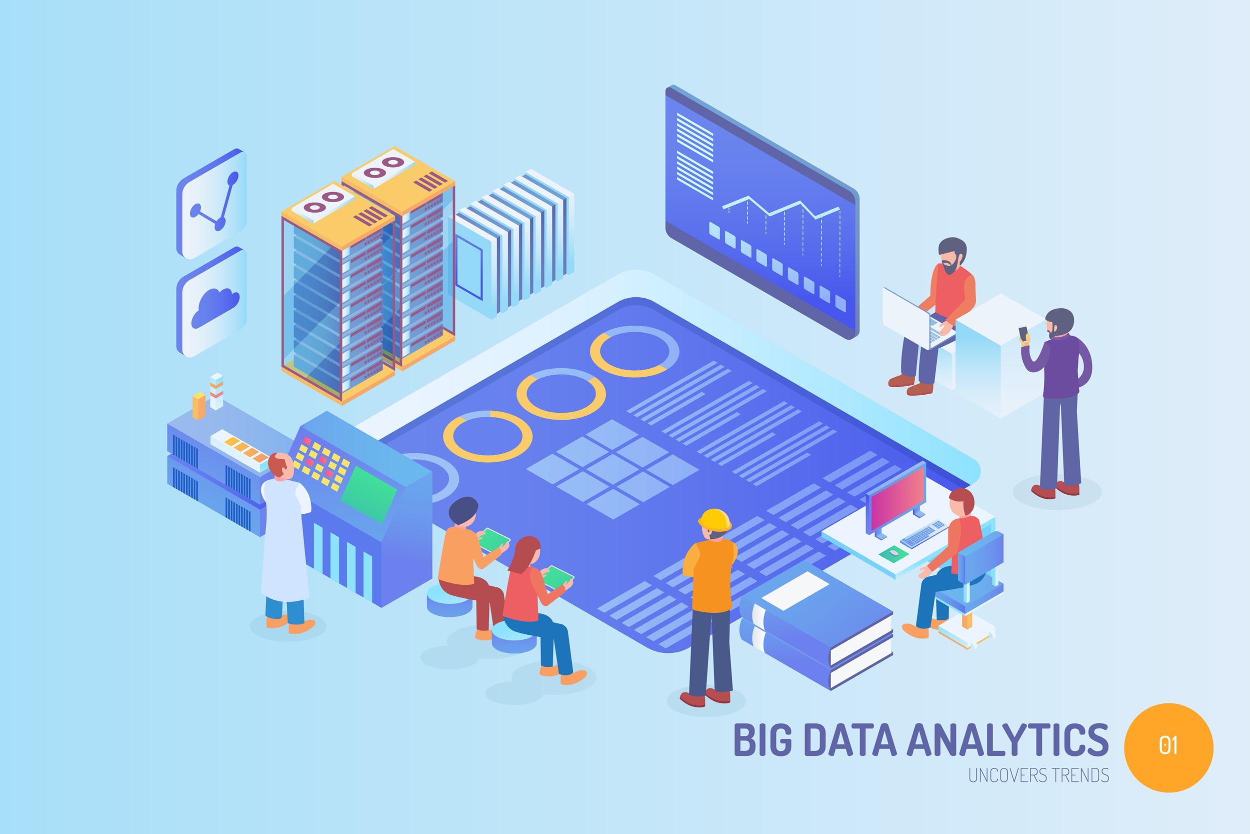 Big data analytics uncovers trends.