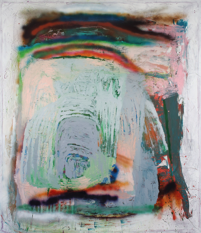 TUESDAY, LEFT FOOT, acrylic and spray paint on canvas, 79.9x92.5 in. 2017  .JPG