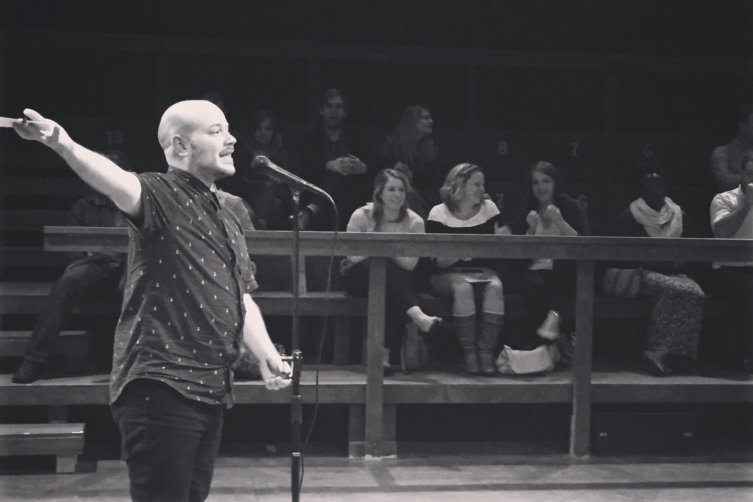 Hosting The Porch storytelling show in Salt Lake City, Utah in 2015.