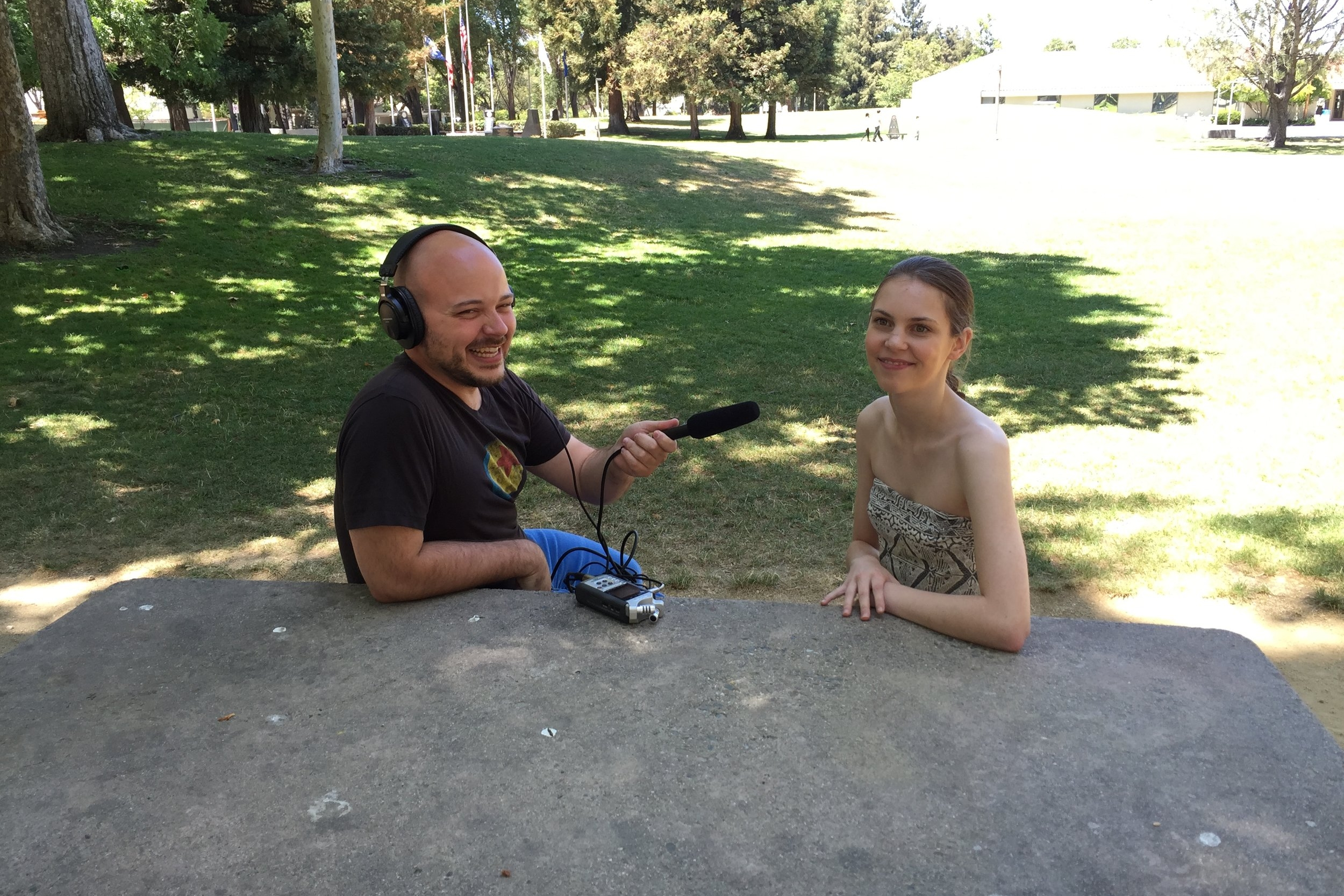 Recording an interview with actress Kaitlyn Dias in 2015.