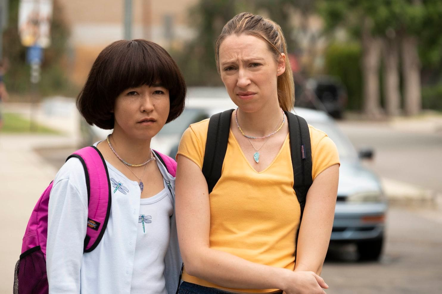 Maya Erskine (left) and Anna Konkle star in  PEN15  on Hulu.