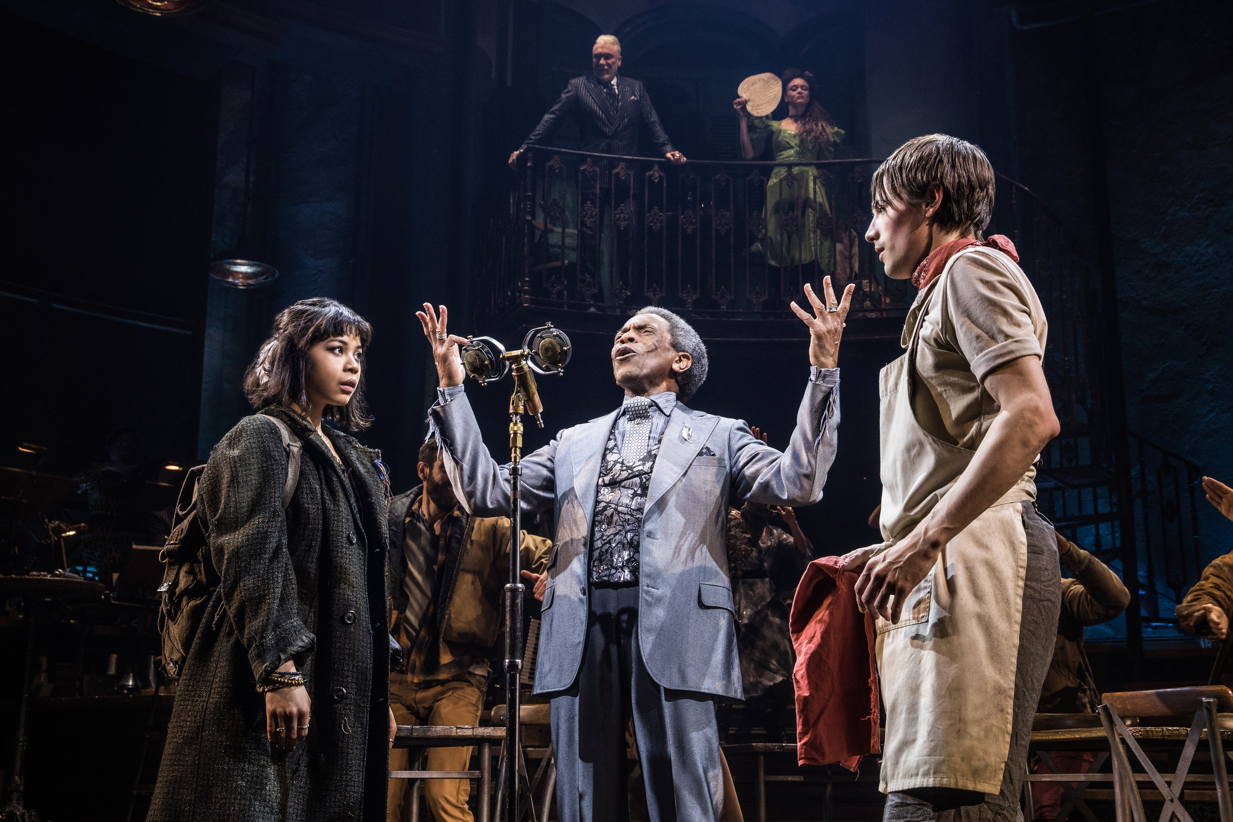 (From left) Eva Noblezada, André De Shields and Reeve Carney star in  Hadestown . Courtesy of Matthew Murphy.