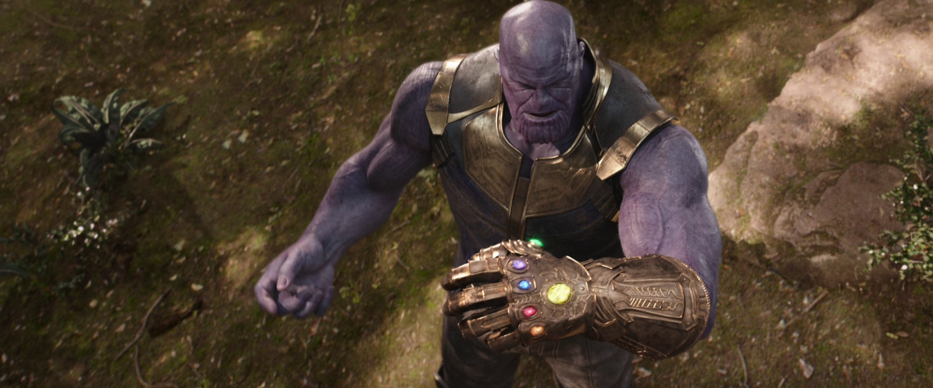 Josh Brolin plays supervillain Thanos in the Marvel Cinematic Universe films. The first 22 feature films in the series make up the Infinity Saga, concluding with  Avengers: Endgame.  Image courtesy of Walt Disney Pictures.