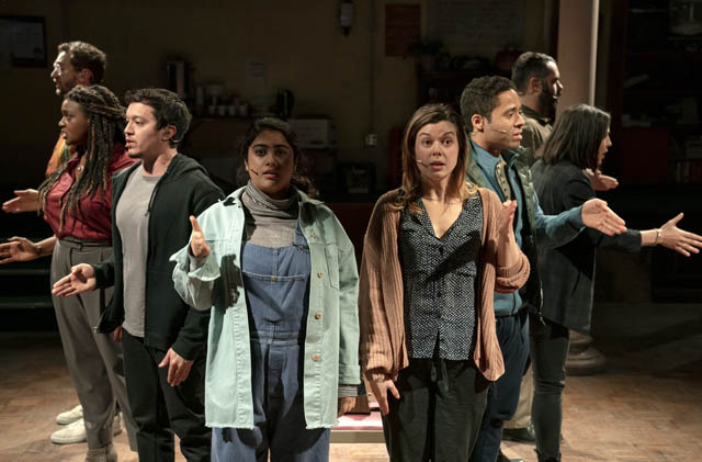 From left: Alex Gibson, Starr Busby, Justin Gregory Lopez, Kuhoo Verma, Margo Seibert, J.D. Mollison, Kim Blanck and Adam Bashian star in  Octet . Courtesy of Joan Marcus.
