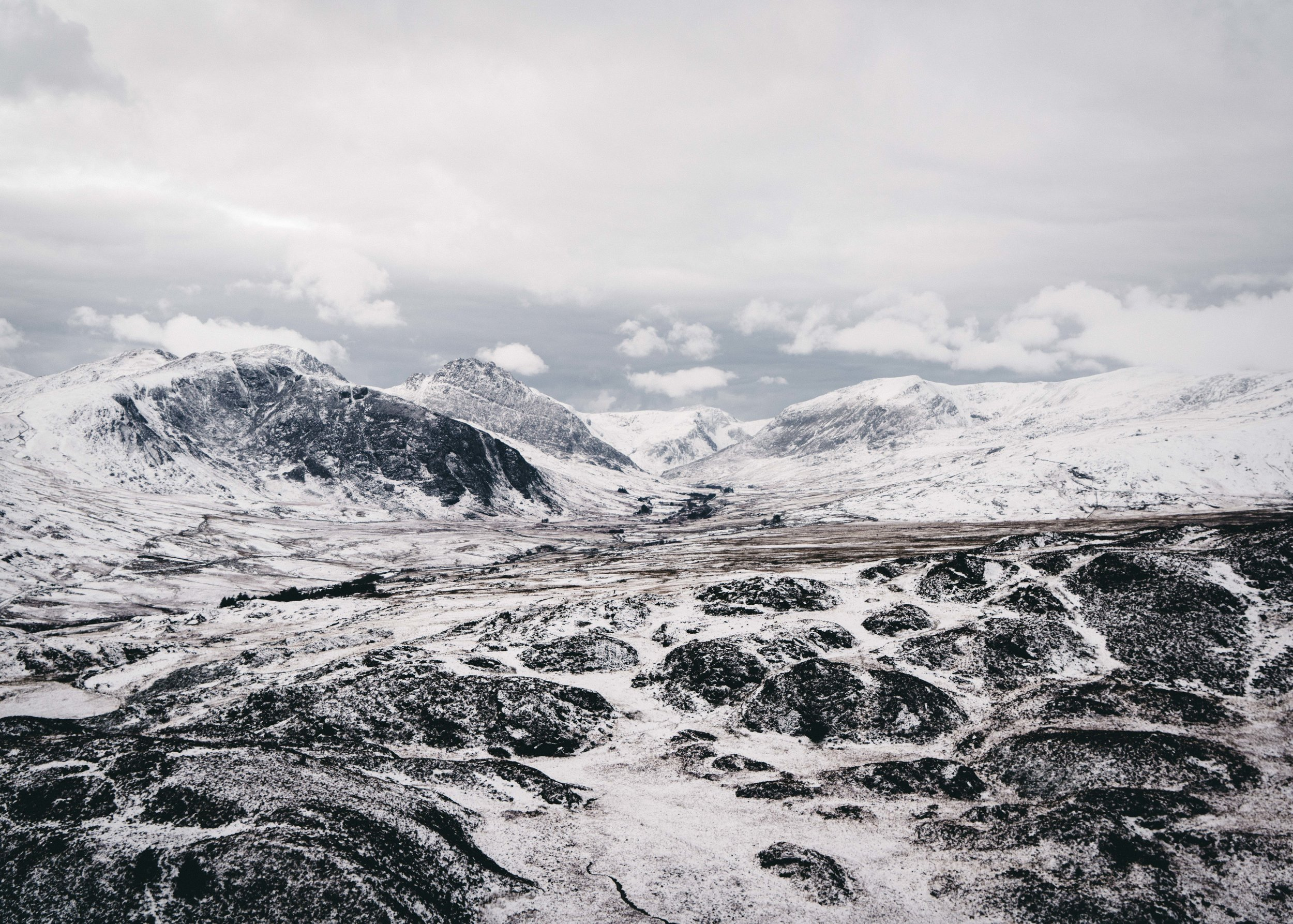 Looking across the Ogwen Valley from Crimpiau