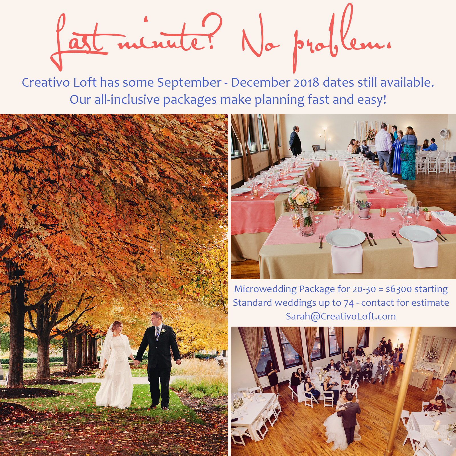 Last minute 2018 Chicago wedding dates available at Creativo Loft