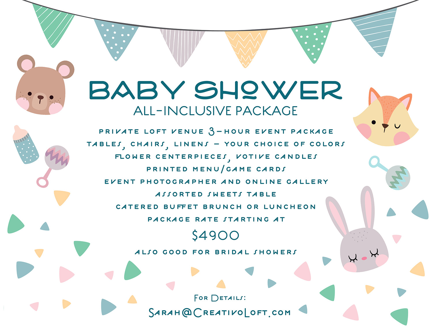 Chicago baby shower package at Creativo Loft