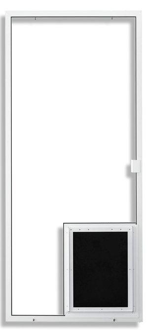 1-3/4 in White with Pet Door Installed