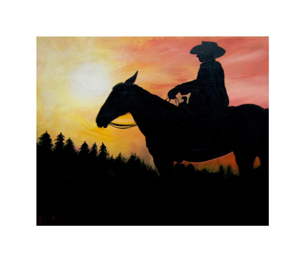 Cowboy Sunset, Acrylic, 2012