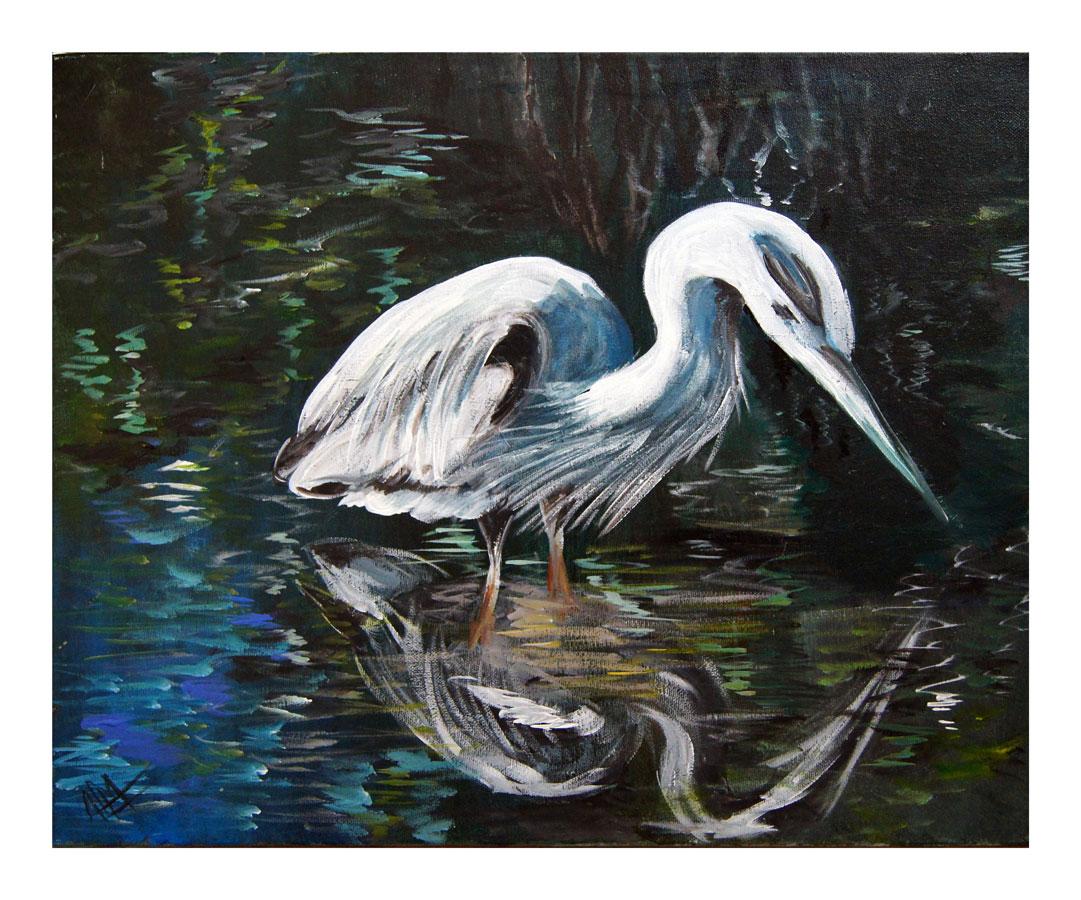 Heron Reflections, Acrylic, 2012