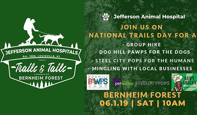 Join us this Saturday at @bernheimforest for Trails & Tails! 10am-2pm! We hope to see you there! . . . . #doghillpawps #dogpopsicles #popsiclesfordogs #dogtreats #frozentreats #popsicles #louisvilledogs #dogsoflouisville #louisville #bernheimforest #trailsandtails #jeffersonanimalhospital