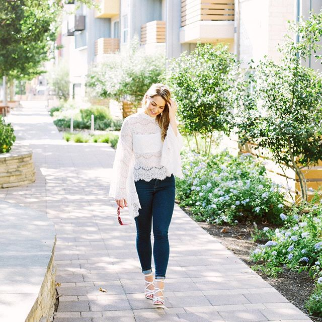 lace top & fluttery sleeves  happy spring day 🌷🌻🌹 . . . Photo credit: @EmilieAPhoto 💛 🖤: https://www.liketoknow.it/haleighbelle 🛍: https://www.shopstyle.com/collective/HaleighBelle