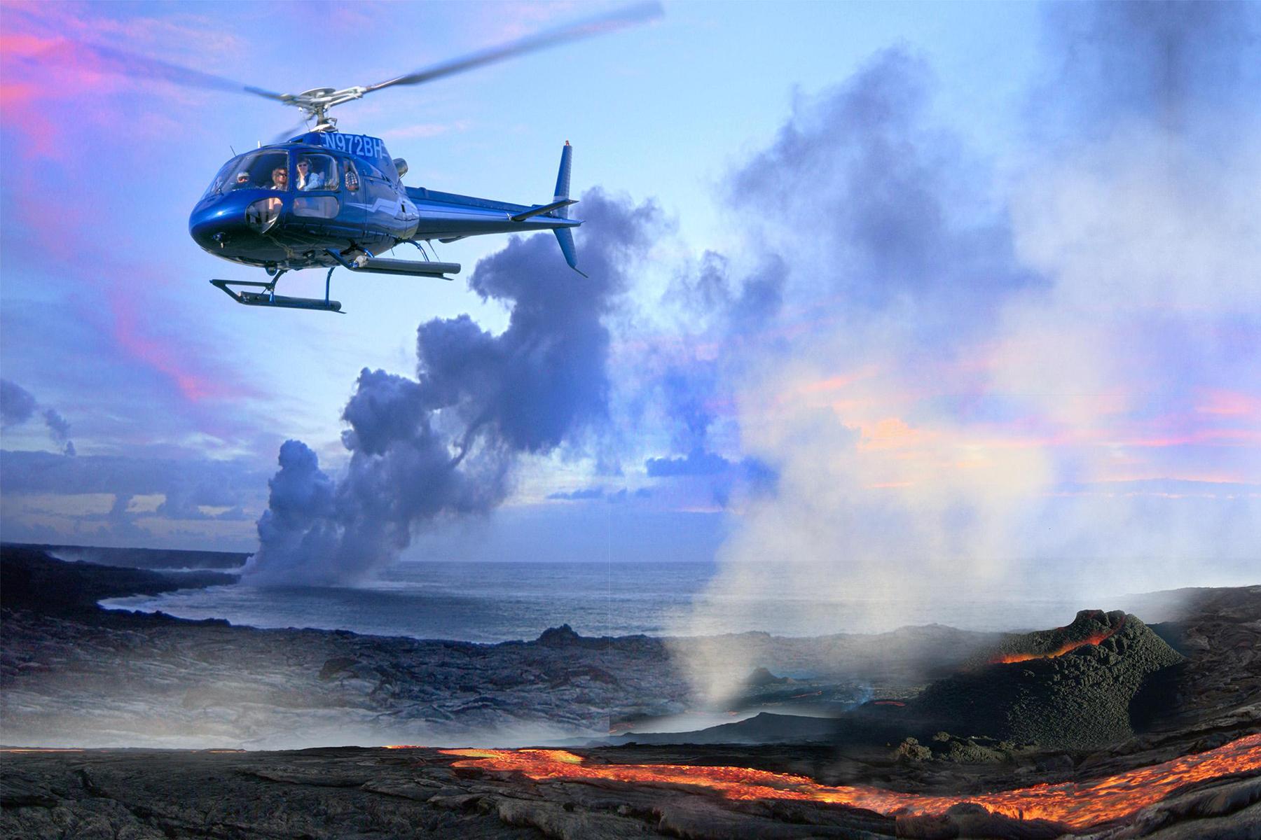 Blue Hawaiian Helicopter over volcano
