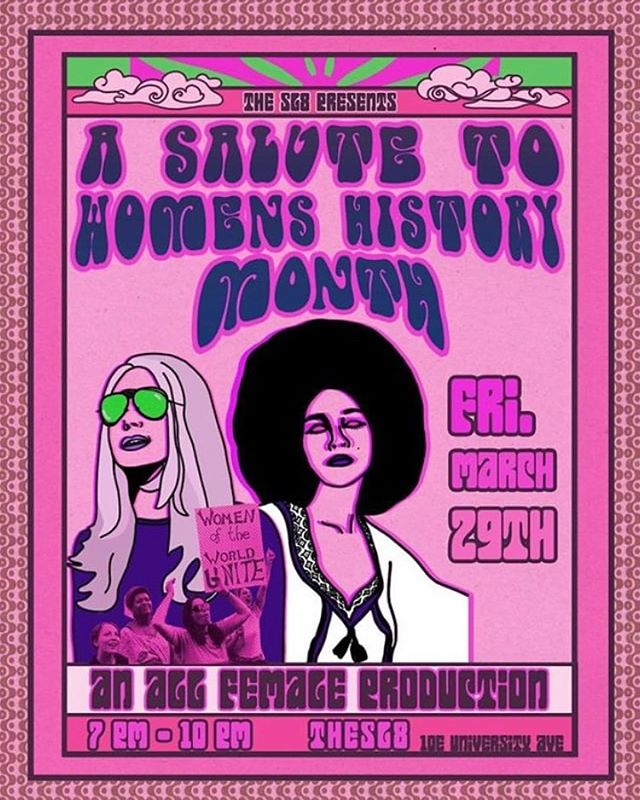 women and art 🖼 two of my favorite things. 🌸🌈🥂 come out and celebrate both of these with some bad ass females and this groovy production put together in celebration of international women history's month. 🎉  7-10 pm tonight! 10 e university ave @ the sl8 in Gainesville, fl 🧡💋