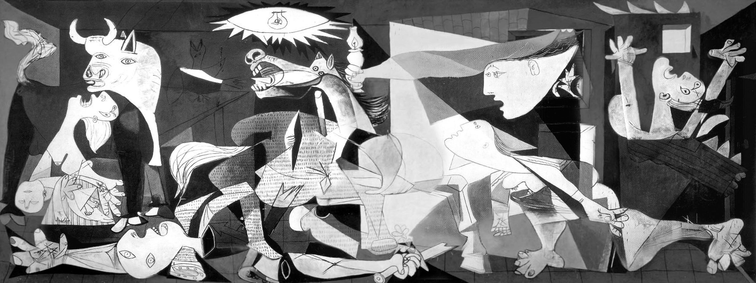 "Pablo Picasso,  Guernica , 1937, oil paint on canvas, 11' 6"" x 25' 6"". Located at the Museo Nacional Centro de Arte Reina Sofia."