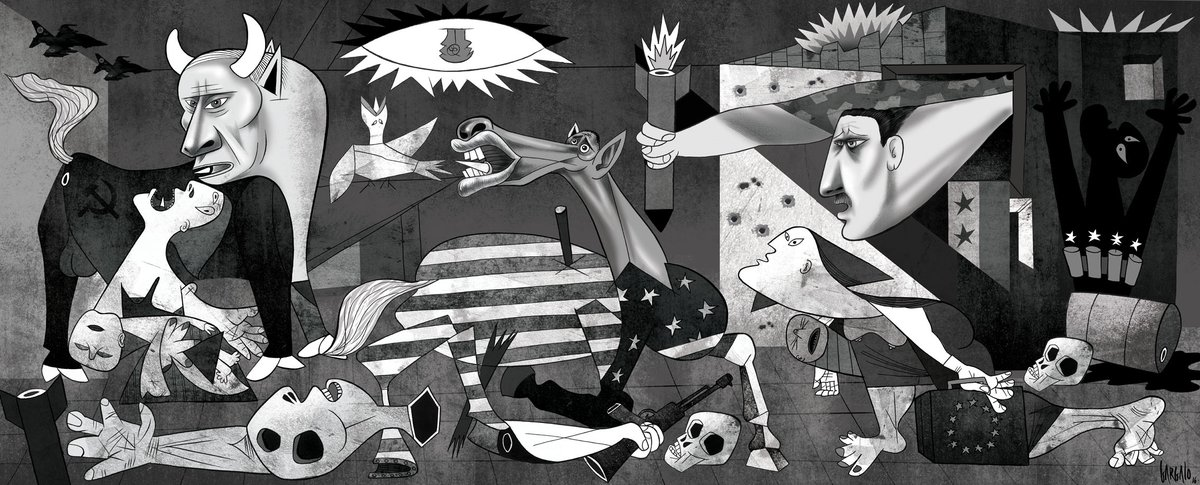 Cartoonist Vasco Gargalo's take on Guernica, after the Aleppo bombings