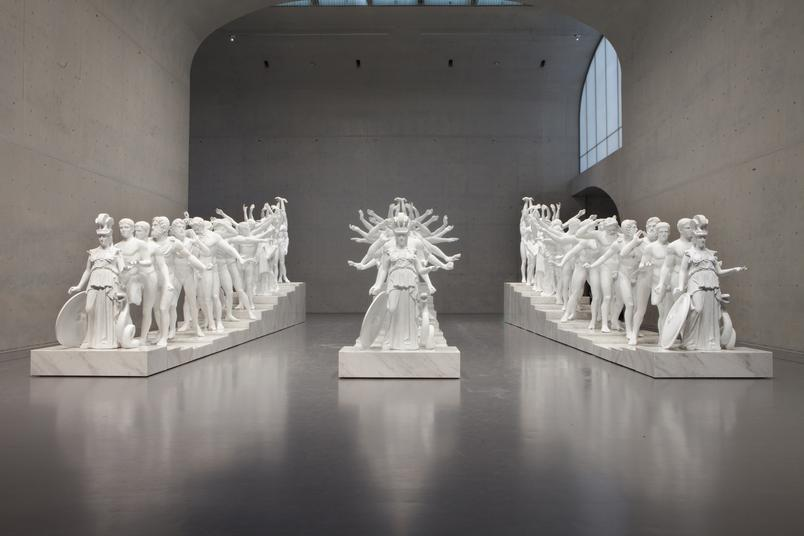 Xu Zhen produced by MadeIn, Corporate, 2014-2015, 19 casts of classical statuary, cast in Jesmonite and marble grains.