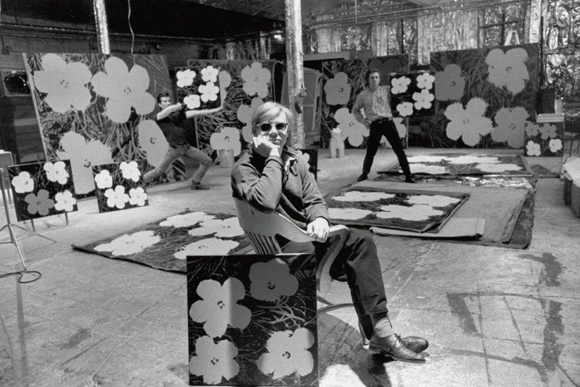 """Andy Warhol with """"Flowers"""" at The Factory, 1964"""