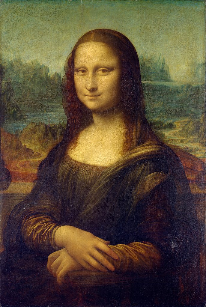 Leonardo da Vinci,  Mona Lisa , 1503, oil on poplar panel.  This was a failed commission! da Vinci was paid to paint this portrait of Lisa del Giocondo. However, the lady and her husband Francesco del Giocondo did not like the finished product which is why the painting was still in da Vinci possession when he died.